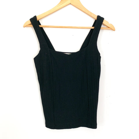 Miss Love Ribbed Black Tank- Size S