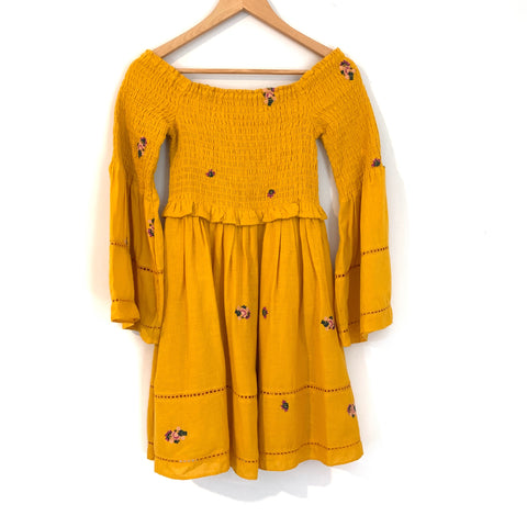 Free People Mustard Smocked Bell Sleeved Dress- Size XS