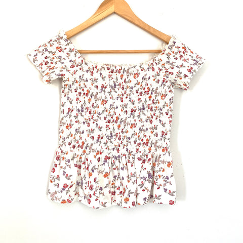 American Eagle White Floral Smocked Blouse NWT- Size XS