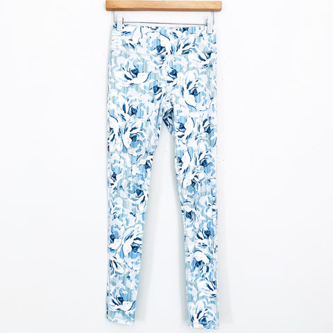 Mono B Light Blue Floral Print Leggings - Size S