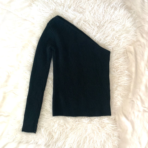 Lovers + Friends Mina Wool Blend One Shoulder Sweater In Black- Size S