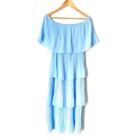 No Brand Blue Off The Shoulder Pleated Dress- Size S