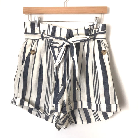 Topshop Striped Linen Paperbag Waist Shorts- Size 6