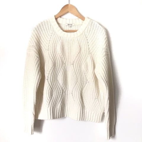 Madewell White Thick Knit Sweater-Size S