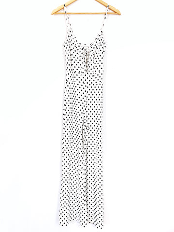 Caution to the Wind Polka Dot Super Soft Tie Front Jumpsuit- Size S
