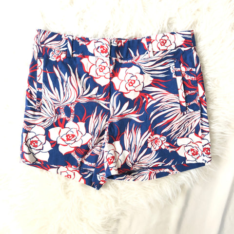J Crew Blue and Red Floral Print Shorts- Size 2