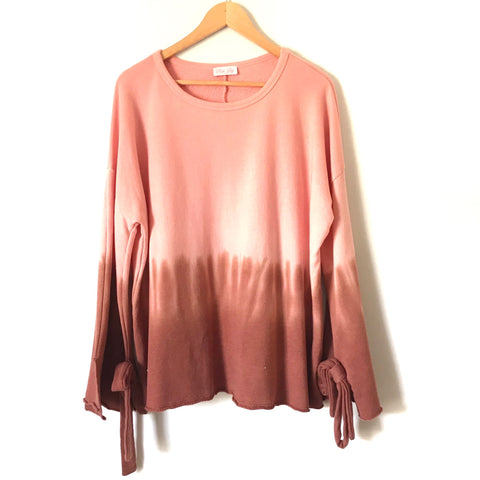 Pink Lily Pink Ombré Sweater with Bell Sleeves and Bow Detail- Size S