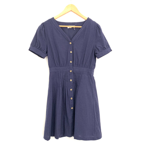 Entro Navy Button Up Dress- Size S