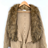 Coco + Jameson Beige Knit Cardigan with Faux Fur Collar- Size S