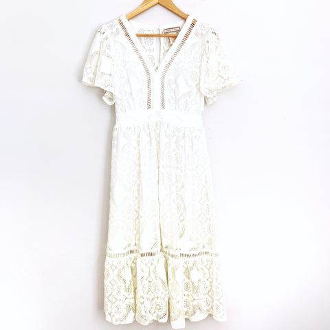 Flying Tomato White Crochet Midi Dress - Size S