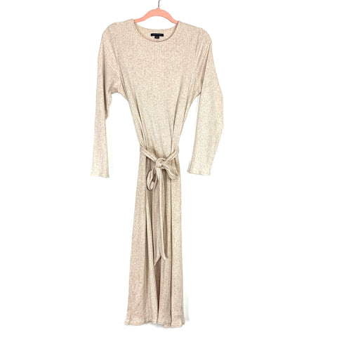 American Eagle Cream Ribbed Belted Sweater Dress- Size L (see notes)