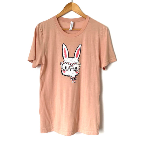 Canvas Pink Bunny In Glasses Tee- Size S