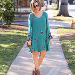 Free People Embroidered Oxford Bubble Sleeve Dress- Size S (see notes)