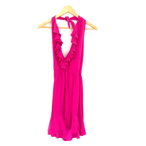 Amanda Uprichard Hot Pink Ruffle 100% Silk Halter Dress- Size S