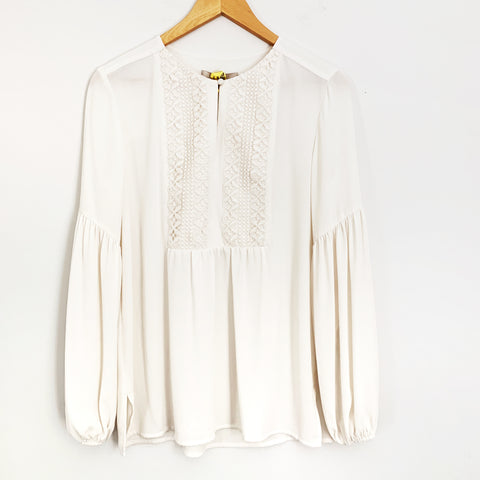 LOFT Cream Embroidered Blouse- Size XS
