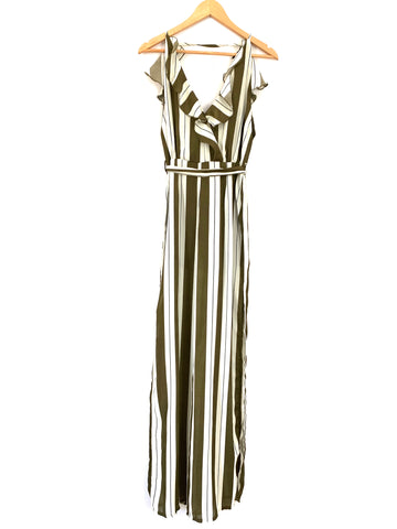 No Brand Olive Striped Exposed Back Jumpsuit with Side Slits- Size S