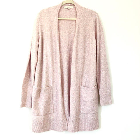 LOFT Long Heathered Pink/Purple Cardigan with Pockets- Size L