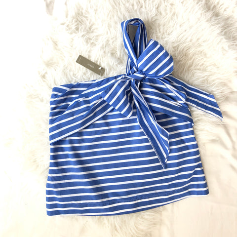 J. Crew One Shoulder Strapless Stripe Bow Top - Size 4