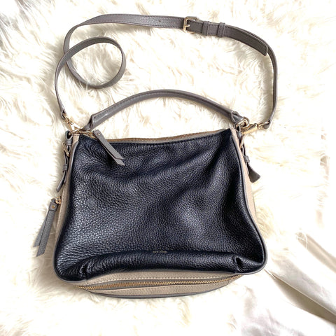 Kate Spade Black/Taupe Leather Zipper Closure Handbag