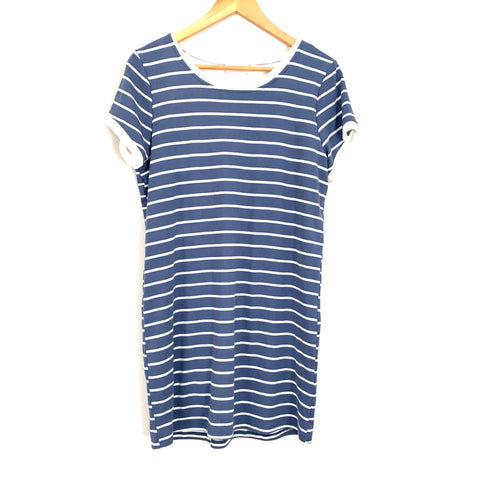 Pink Lily Blue Striped T-Shirt Dress (fully lined)- Size S