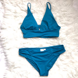 L*Space Turquoise Double Strap Full Cut Bikini Bottom- Size S (BOTTOMS ONLY)
