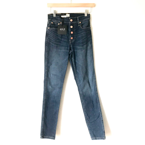 "ABLE Button Front Ankle Skinny Jeans NWT- Size 24 (Inseam 28"")"
