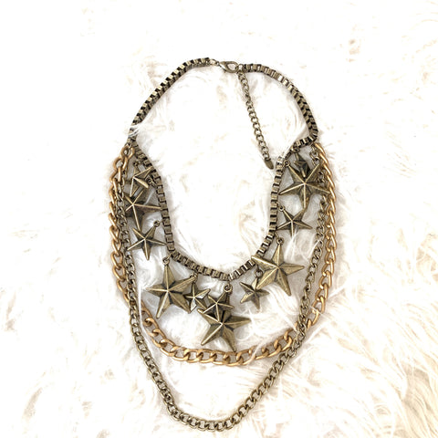Cara NY Multi Chain Star Pendants Necklace