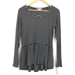 BP Black Stripe Long Sleeve Peplum Top NWT - Size XS