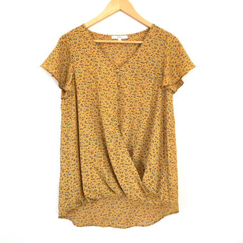 Andre by Unit Mustard Floral Swoop Hem Blouse- Size S