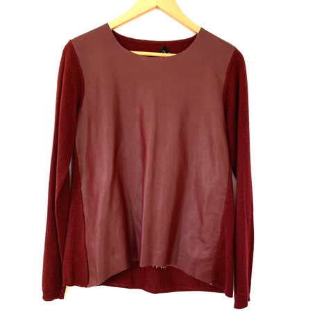 Olivacious Faux Leather Front Sweater NWT- Size S