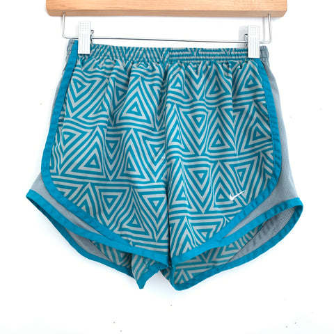 Nike Dri-Fit Grey and Teal Triangle Print Shorts- Size XS
