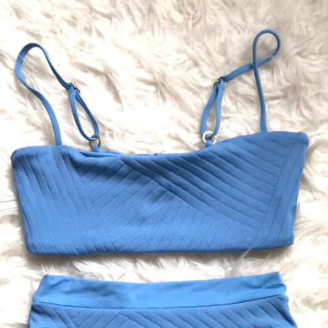 L*Space Blue Ribbed Top- Size S (TOP ONLY)