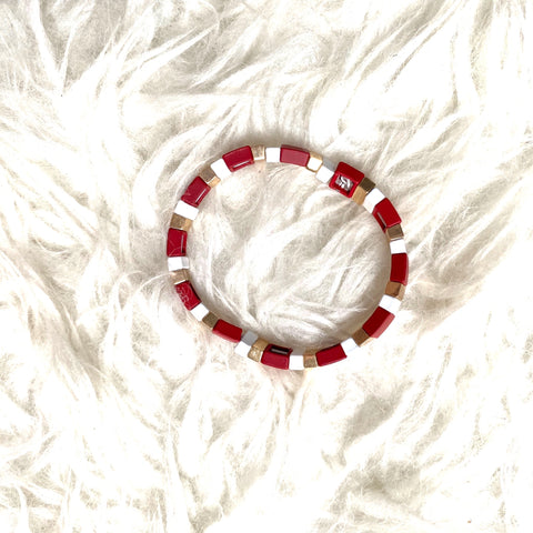 J Nicole Jewelry Cranberry and White Bracelet
