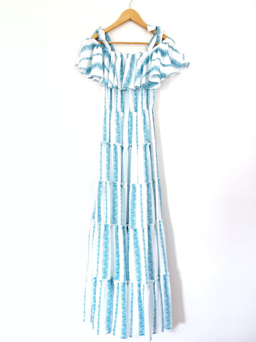 L'atiste Blue & White Off the Shoulder Tie Dress with Ruffles NWT- Size S