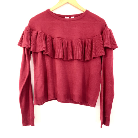 Love On a Hanger Burgundy Ruffle Sweater- Size S