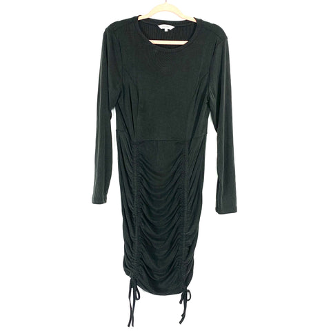Amaryllis Black Ribbed Cinched Detail Dress- Size XL
