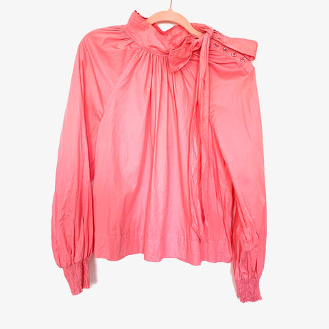 TOPSHOP Pink Shoulder Button Up Tie Neck Smock Sleeve Blouse- Size 10 (fits like a small)