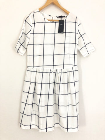 M&S Collection Pure Cotton Check Drop Waist Dress NWT- Size 2