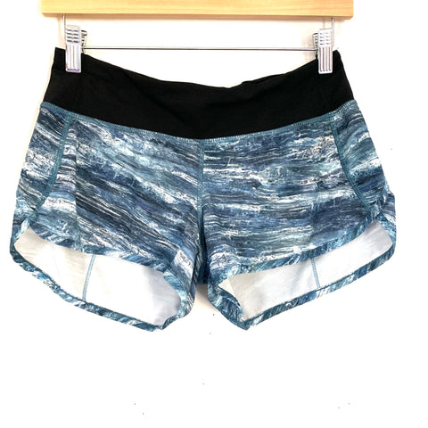 Lululemon Speed Shorts In Marbled Blue & White- Size 4