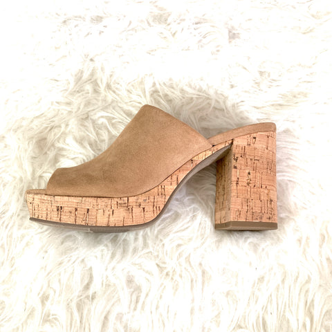 Universal Thread Tan Faux Suede Cork Mules- Size 7