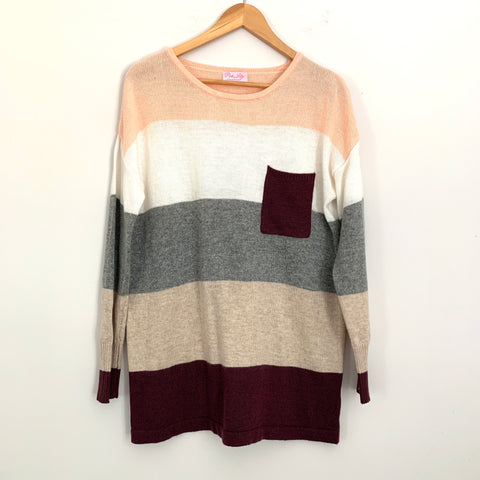 Pink Lily Pink, White, Grey and Purple Striped Sweater- Size M