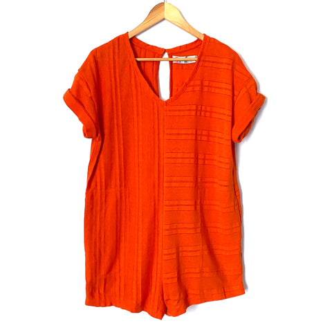 Free People Belmont Orange V-Neck Romper- Size XS