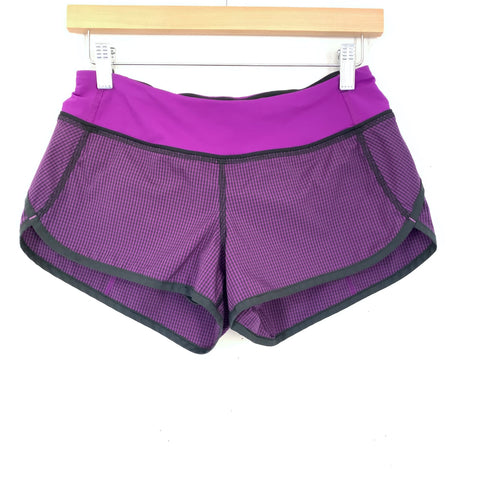Lululemon Black and Purple Gingham Speed Shorts- Size 4