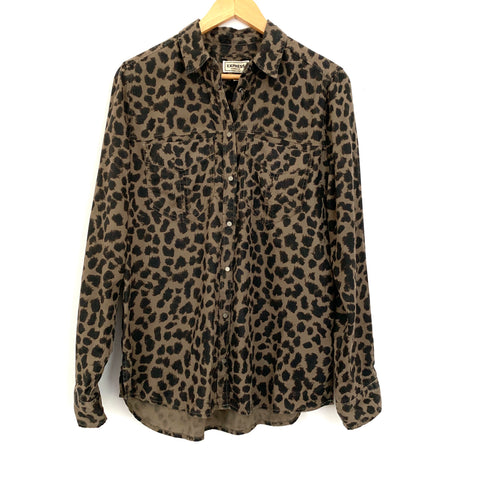 Express Boyfriend Brown/Black Leopard Print Button Up (Snaps) Top- Size S