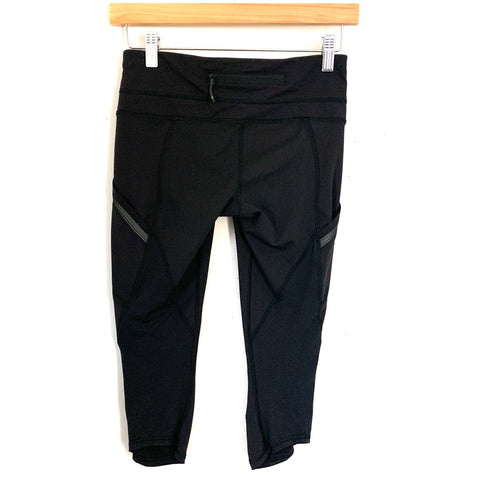 "Lululemon Black Crop Legging with Side Pockets and Ruching- Size 4 (Inseam 16"")"