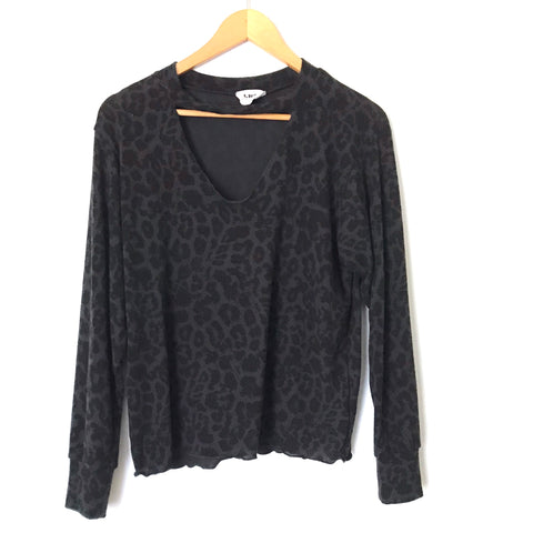 LNA California Leopard Long Sleeve Tee With Neck Cutout- Size XS