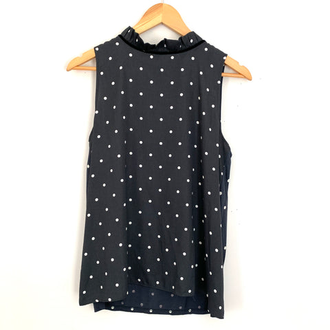 LOFT Polka Dot Tank with Ruffle Collar- Size S