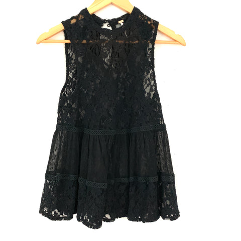 Free People Black Lace and Swiss Dot Tank- Size XS