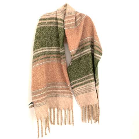 Look by M Pink & Green Plaid Scarf