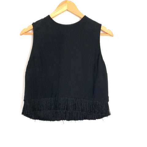 A.L.C Black Blouse with Fringe Hem and Back Exposed Zipper- Size 8